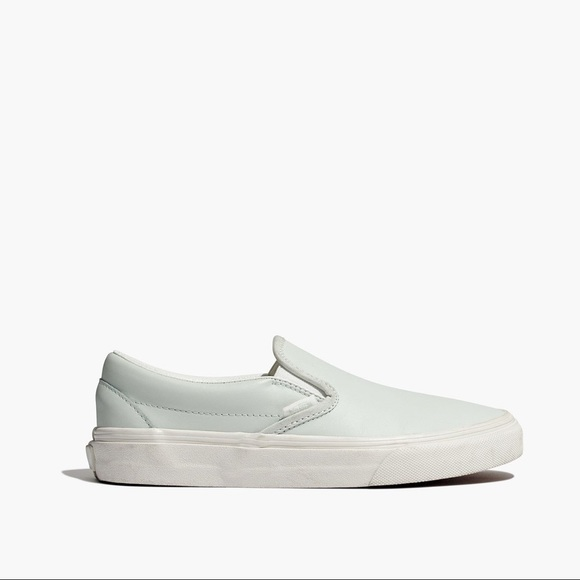 1a7d2a399e01 vans (for madewell) mint leather slip ons. M 5b41b08312cd4a9e35f4f4bf